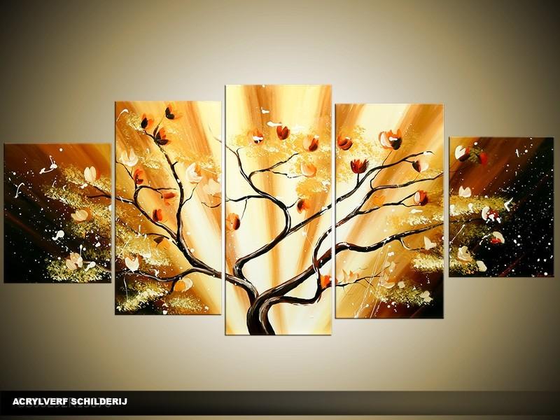 Acryl Schilderij Boom | Geel, Bruin | 150x70cm 5Luik Handgeschilderd