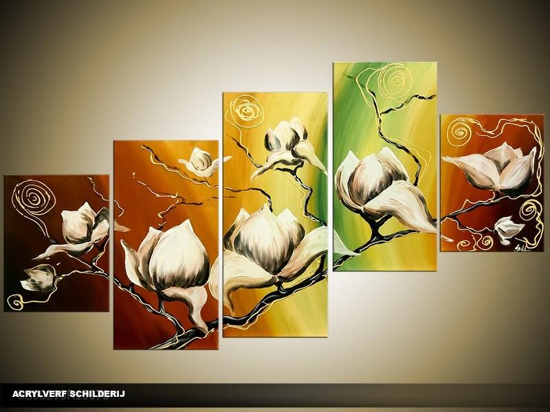 Acryl Schilderij Magnolia | Groen, Geel, Bruin | 150x70cm 5Luik Handgeschilderd