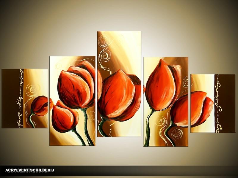 Acryl Schilderij Klaproos | Rood, Bruin | 150x70cm 5Luik Handgeschilderd