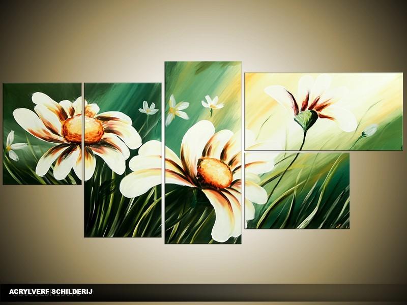 Acryl Schilderij Modern | Groen, Wit | 150x70cm 5Luik Handgeschilderd