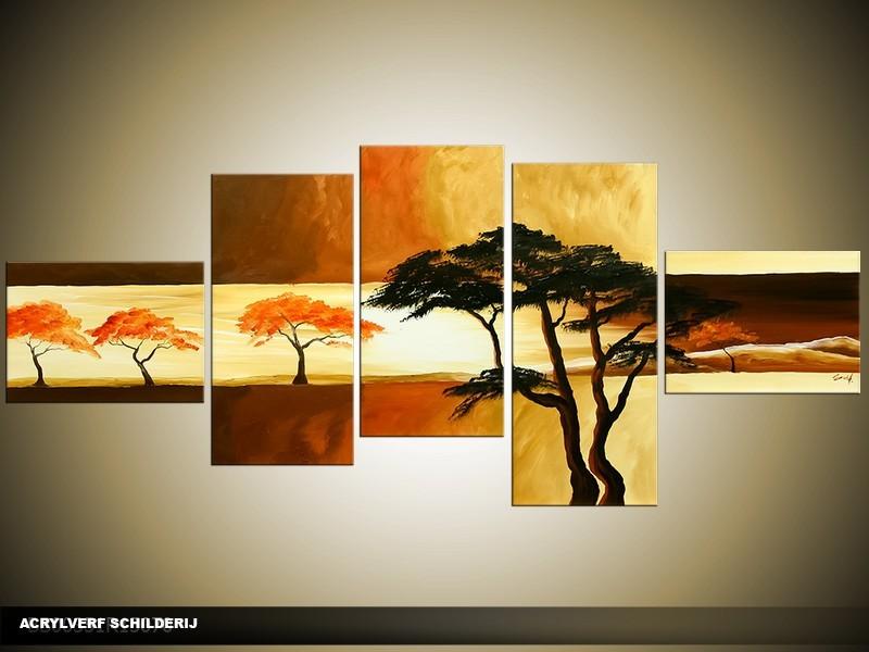 Acryl Schilderij Natuur | Bruin, Geel | 170x70cm 5Luik Handgeschilderd