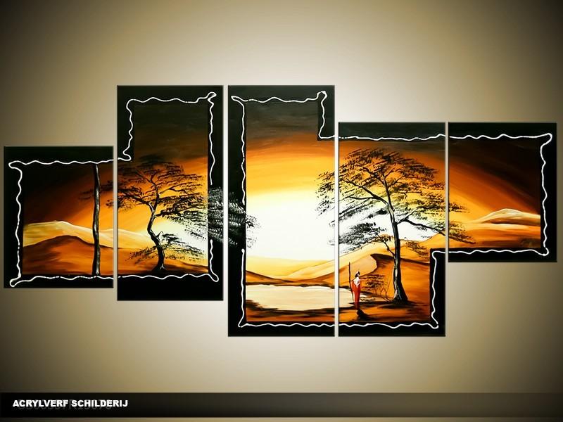 Acryl Schilderij Natuur | Geel, Zwart, Bruin | 150x70cm 5Luik Handgeschilderd