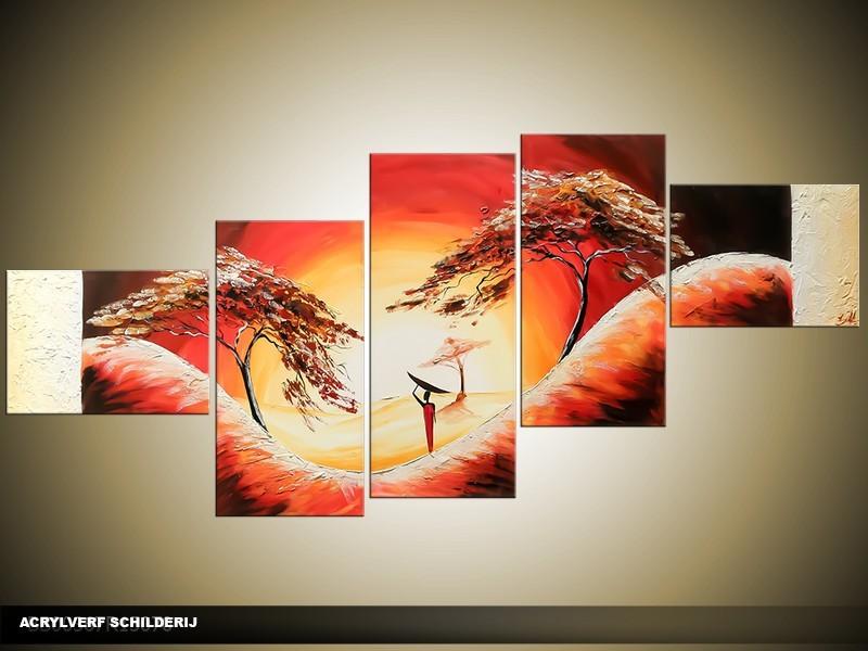Acryl Schilderij Natuur | Rood, Crème | 170x70cm 5Luik Handgeschilderd