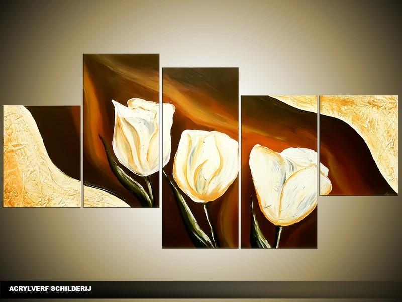 Acryl Schilderij Tulpen | Bruin, Crème | 150x70cm 5Luik Handgeschilderd