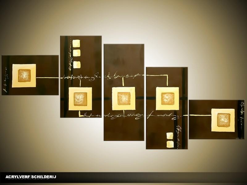 Acryl Schilderij Modern | Bruin, Crème | 170x70cm 5Luik Handgeschilderd