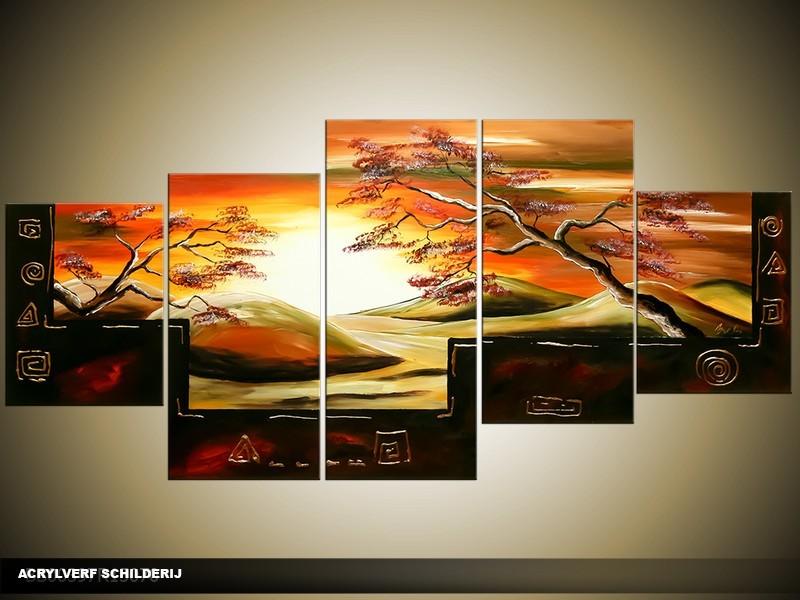 Acryl Schilderij Natuur | Oranje, Geel, Zwart | 150x70cm 5Luik Handgeschilderd