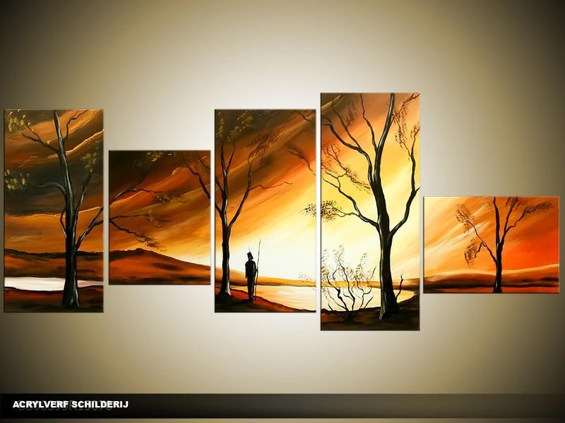 Acryl Schilderij Natuur | Bruin, Geel, Oranje | 160x70cm 5Luik Handgeschilderd