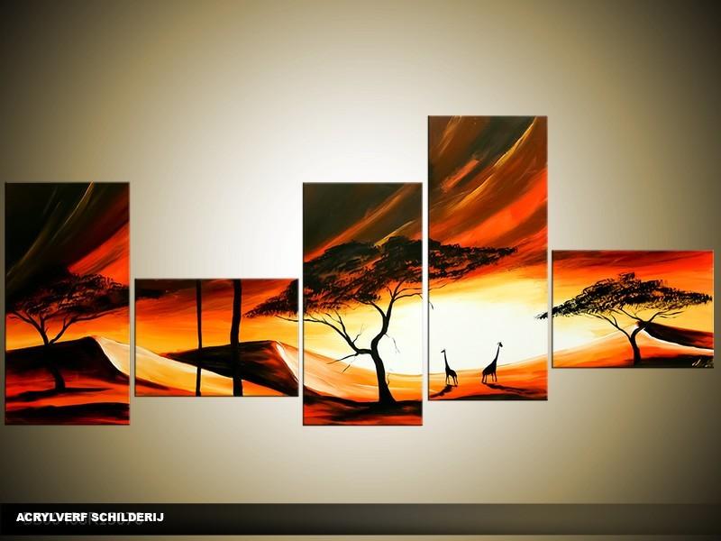 Acryl Schilderij Natuur | Bruin, Geel, Oranje | 170x70cm 5Luik Handgeschilderd