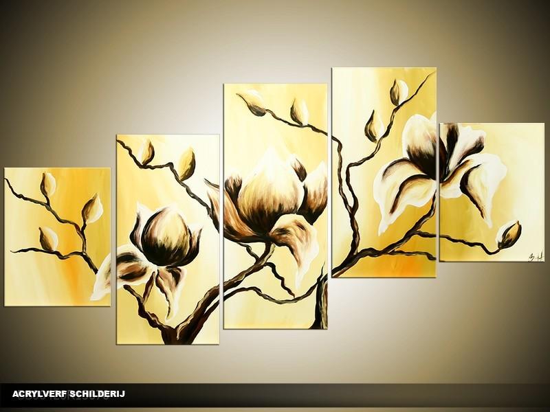 Acryl Schilderij Magnolia | Geel | 150x70cm 5Luik Handgeschilderd