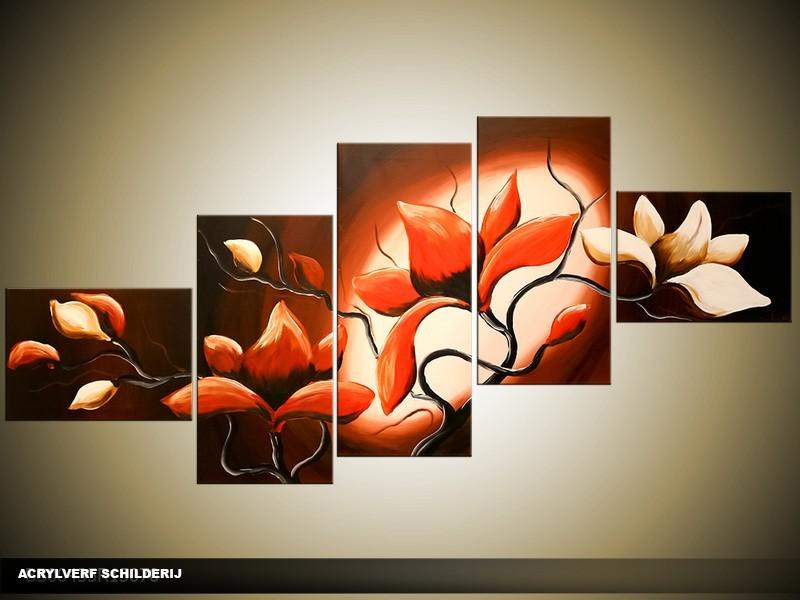 Acryl Schilderij Magnolia | Rood, Bruin, Crème | 170x70cm 5Luik Handgeschilderd