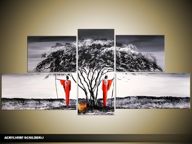 Acryl Schilderij Modern | Grijs, Zwart, Rood | 150x70cm 5Luik Handgeschilderd