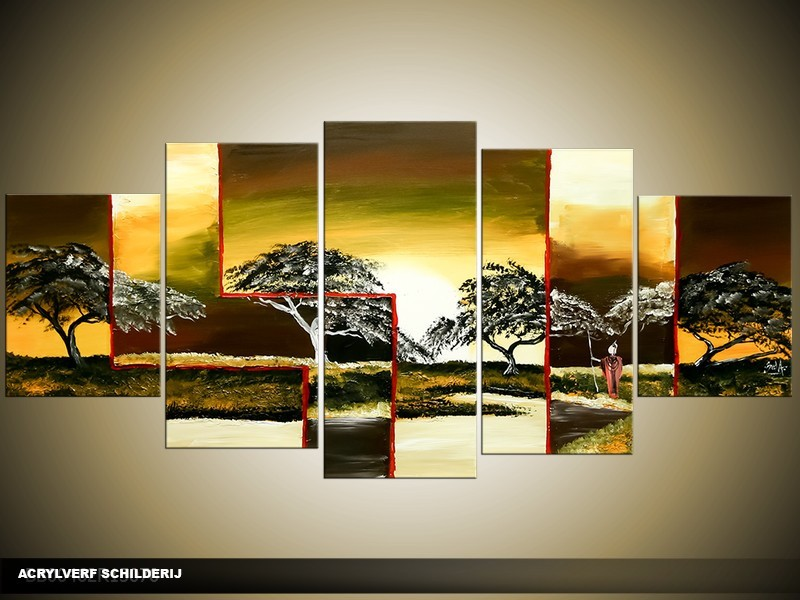 Acryl Schilderij Natuur | Groen, Bruin, Geel | 150x70cm 5Luik Handgeschilderd