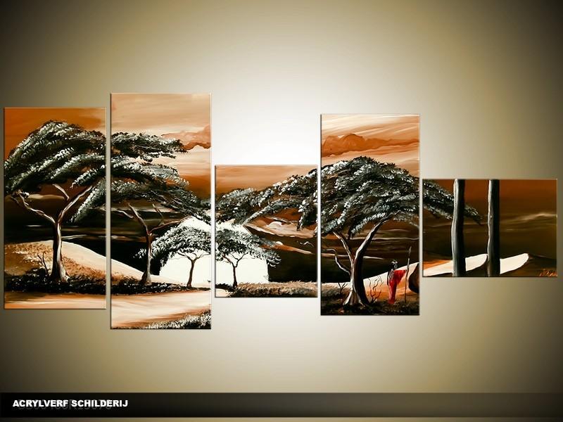 Acryl Schilderij Natuur | Bruin | 160x70cm 5Luik Handgeschilderd