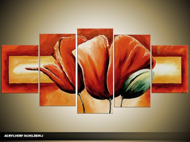 Acryl Schilderij Klaproos   Rood, Crème   150x70cm 5Luik Handgeschilderd