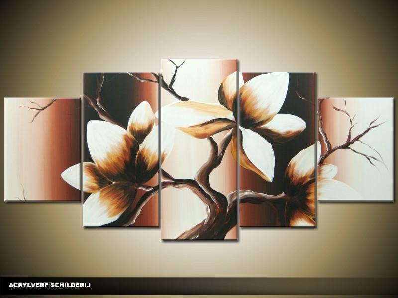 Acryl Schilderij Magnolia | Bruin, Crème | 150x70cm 5Luik Handgeschilderd