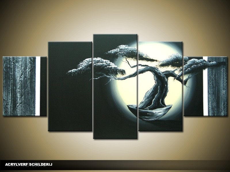 Acryl Schilderij Bonsai | Zwart, Crème | 150x70cm 5Luik Handgeschilderd