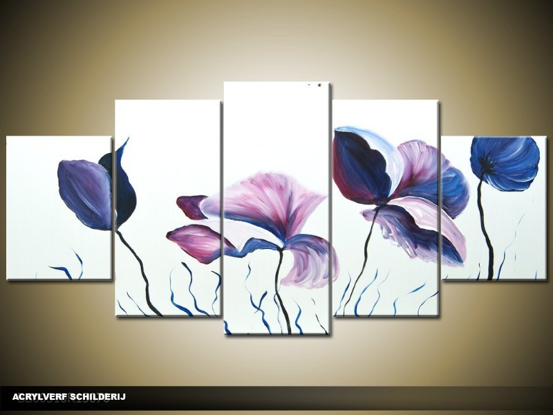 Acryl Schilderij Klaproos | Paars, Wit | 150x70cm 5Luik Handgeschilderd