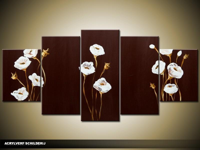 Acryl Schilderij Modern | Bruin, Wit | 150x70cm 5Luik Handgeschilderd