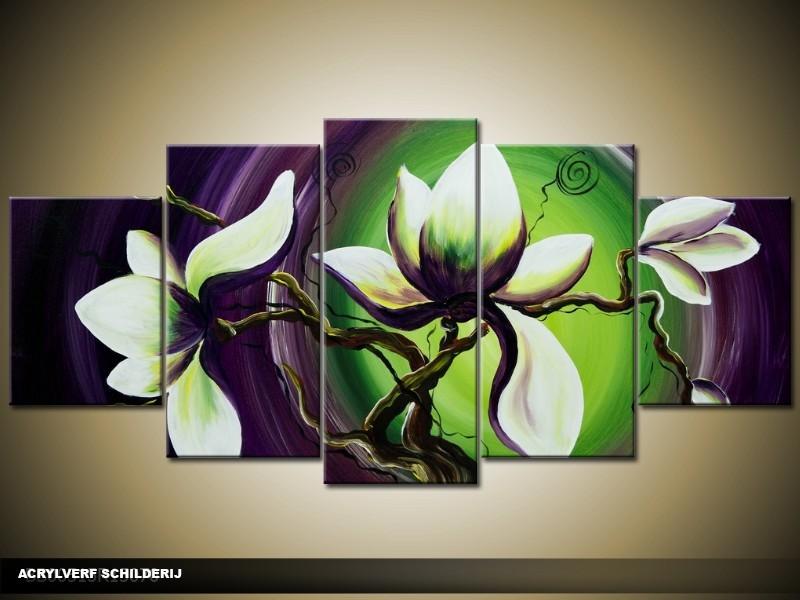 Acryl Schilderij Magnolia | Groen, Paars | 150x70cm 5Luik Handgeschilderd