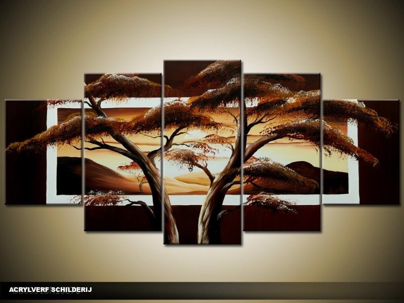 Acryl Schilderij Boom | Bruin, Geel | 150x70cm 5Luik Handgeschilderd