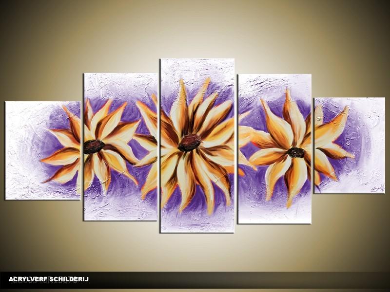 Acryl Schilderij Modern | Paars, Crème | 150x70cm 5Luik Handgeschilderd