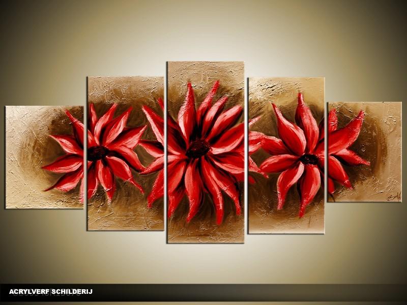 Acryl Schilderij Modern | Rood, Bruin | 150x70cm 5Luik Handgeschilderd