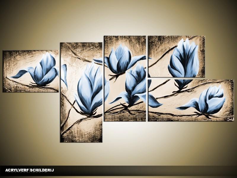 Acryl Schilderij Magnolia | Blauw, Bruin | 160x70cm 5Luik Handgeschilderd