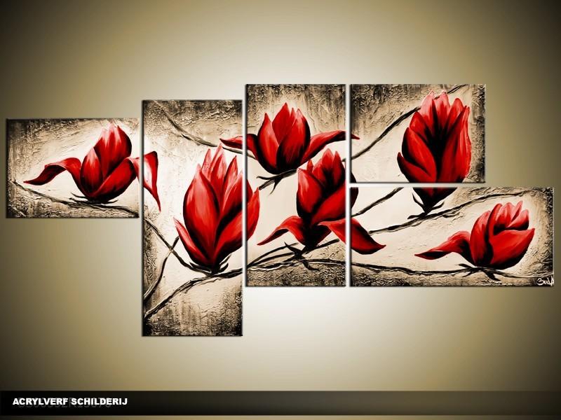 Acryl Schilderij Magnolia | Rood, Bruin | 160x70cm 5Luik Handgeschilderd