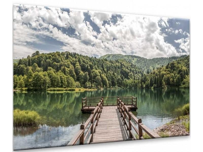 Glasschilderij Brug, Natuur | Bruin, Groen | 120x80cm 1Luik