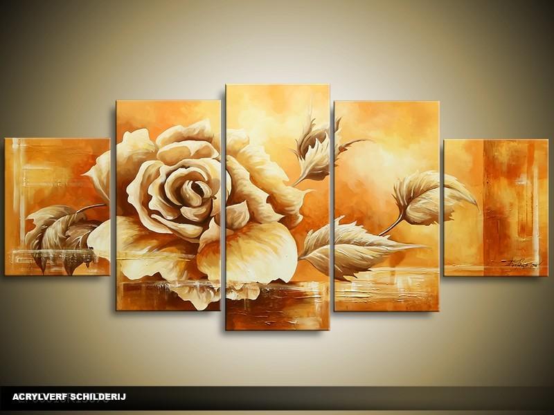 Acryl Schilderij Roos | Bruin, Crème | 150x70cm 5Luik Handgeschilderd