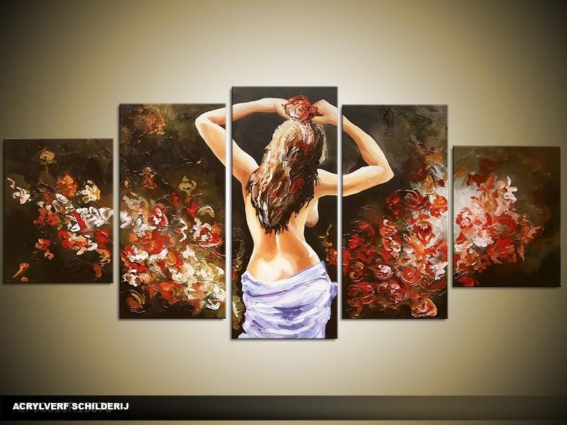 Acryl Schilderij Sexy | Bruin | 150x70cm 5Luik Handgeschilderd