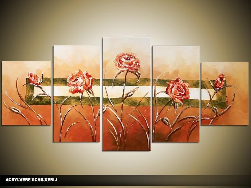 Acryl Schilderij Natuur | Oranje, Groen | 150x70cm 5Luik Handgeschilderd