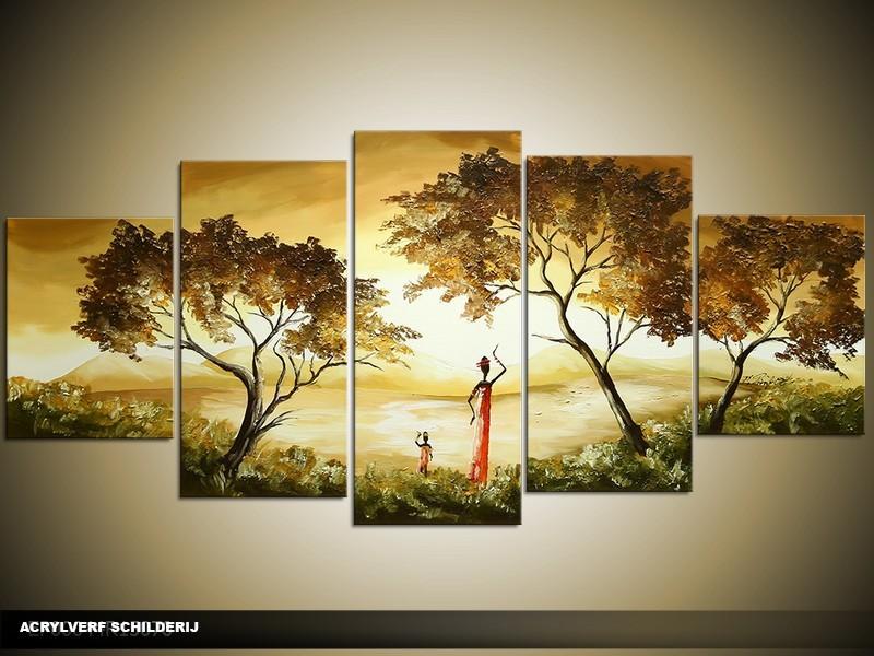 Acryl Schilderij Natuur | Bruin, Geel, Groen | 150x70cm 5Luik Handgeschilderd