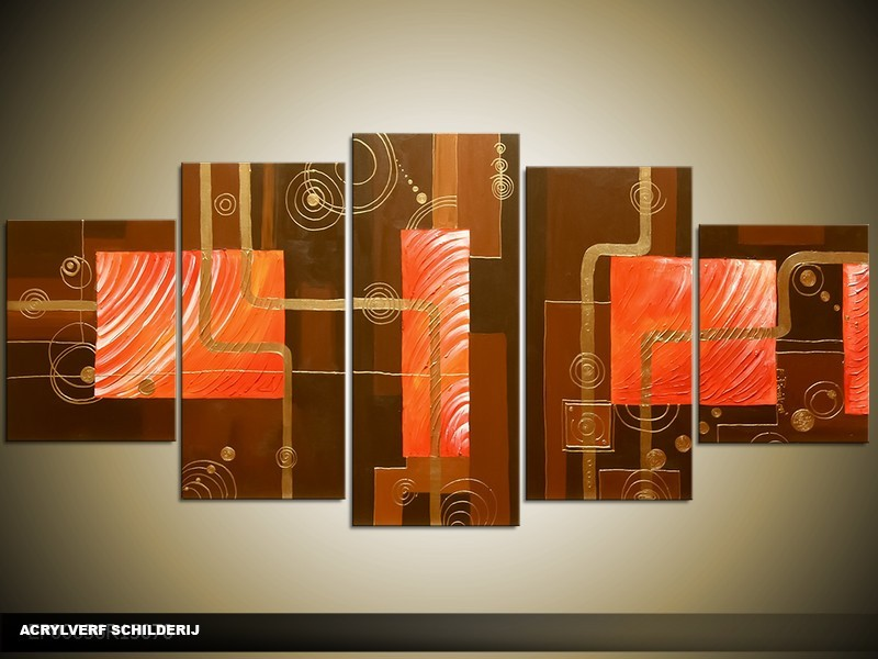 Acryl Schilderij Modern | Bruin, Rood | 150x70cm 5Luik Handgeschilderd