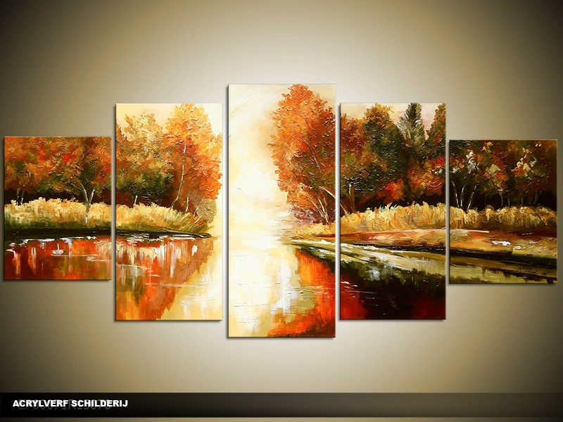 Acryl Schilderij Natuur | Bruin, Crème, Groen | 150x70cm 5Luik Handgeschilderd