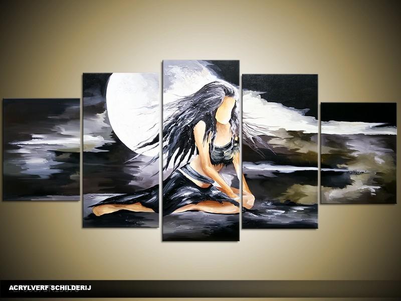 Acryl Schilderij Art | Zwart, Grijs | 150x70cm 5Luik Handgeschilderd