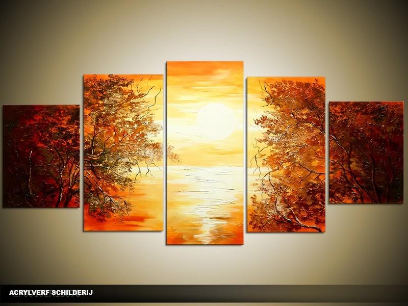 Acryl Schilderij Natuur | Bruin, Geel, Oranje | 150x70cm 5Luik Handgeschilderd