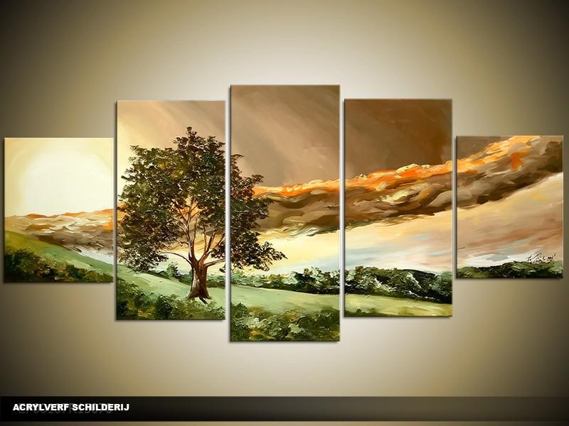 Acryl Schilderij Natuur | Groen, Bruin, Crème | 150x70cm 5Luik Handgeschilderd