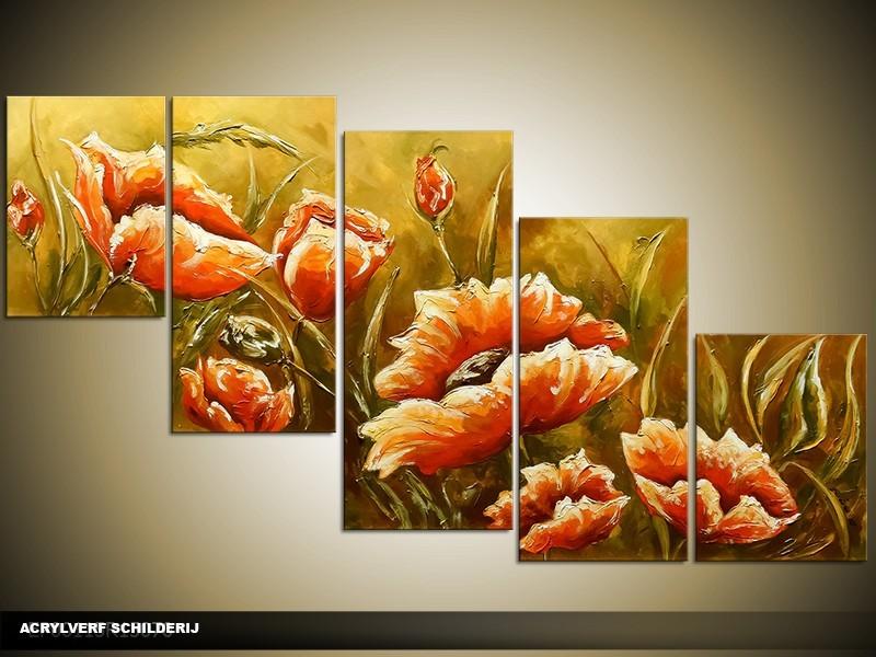 Acryl Schilderij Klaproos | Groen, Oranje | 150x70cm 5Luik Handgeschilderd