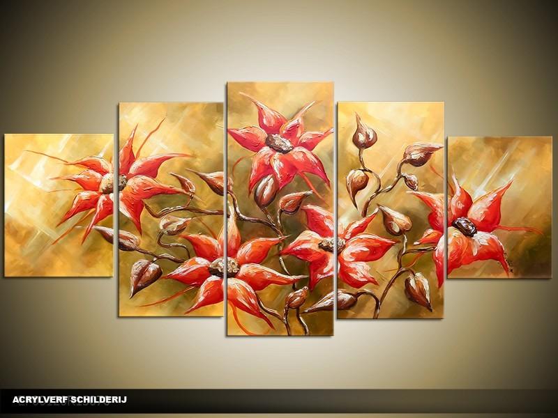 Acryl Schilderij Woonkamer | Groen, Rood | 150x70cm 5Luik Handgeschilderd