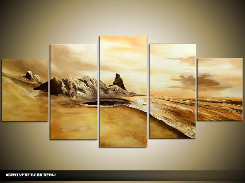 Acryl Schilderij Natuur | Crème, Bruin | 150x70cm 5Luik Handgeschilderd