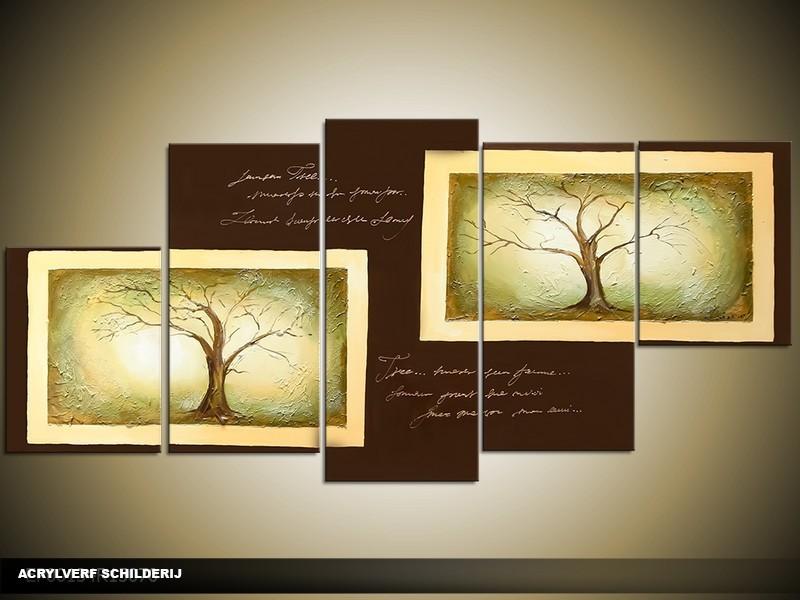 Acryl Schilderij Natuur | Groen, Bruin | 150x70cm 5Luik Handgeschilderd