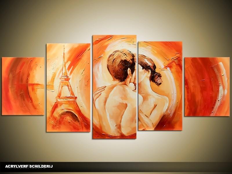 Acryl Schilderij Parijs   Oranje   150x70cm 5Luik Handgeschilderd