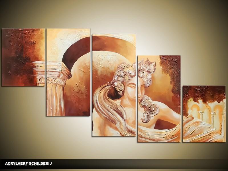 Acryl Schilderij Rome | Bruin, Crème | 150x70cm 5Luik Handgeschilderd