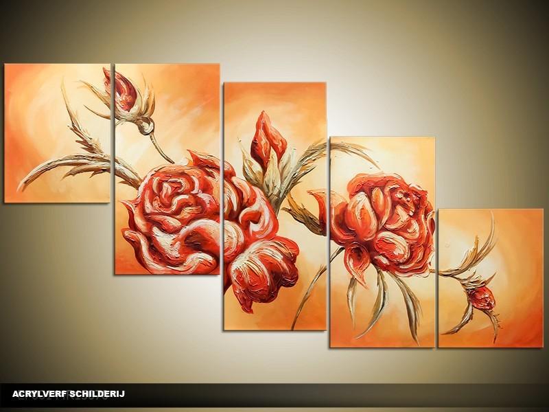 Acryl Schilderij Roos | Oranje, Crème | 150x70cm 5Luik Handgeschilderd