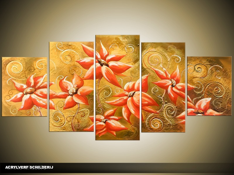 Acryl Schilderij Natuur   Oranje   150x70cm 5Luik Handgeschilderd
