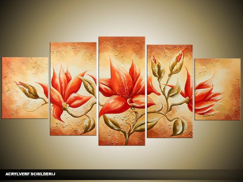 Acryl Schilderij Woonkamer   Oranje, Bruin   150x70cm 5Luik Handgeschilderd
