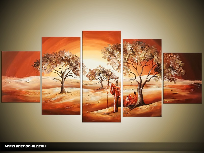 Acryl Schilderij Natuur   Bruin, Crème   150x70cm 5Luik Handgeschilderd