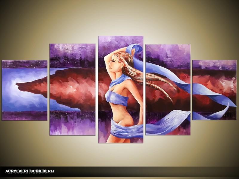 Acryl Schilderij Natuur | Blauw, Paars | 150x70cm 5Luik Handgeschilderd