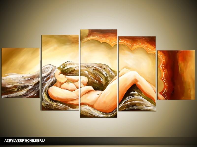 Acryl Schilderij Sexy | Groen, Bruin | 150x70cm 5Luik Handgeschilderd